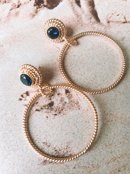 Dahlia Hoop Earrings - Navy