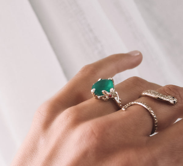 Ivy Ring - Green Onyx & Rubies