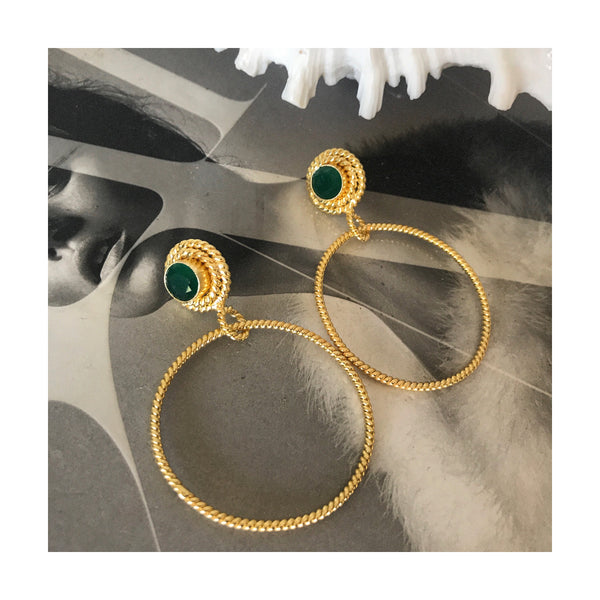 Dahlia Hoop Earrings Green Onyx