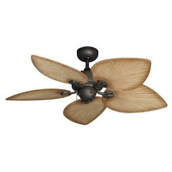"Bombay Tropical Ceiling Fan in Oil Rubbed Bronze with 42"" Tan Blades - Tropically Inclined"