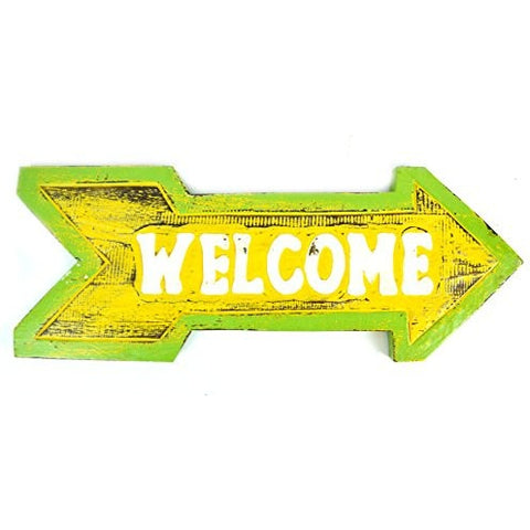 Hand Carved Wooden Arrow WELCOME Home Cocktails Drinking BEACH Surfboard Sign - Tropically Inclined