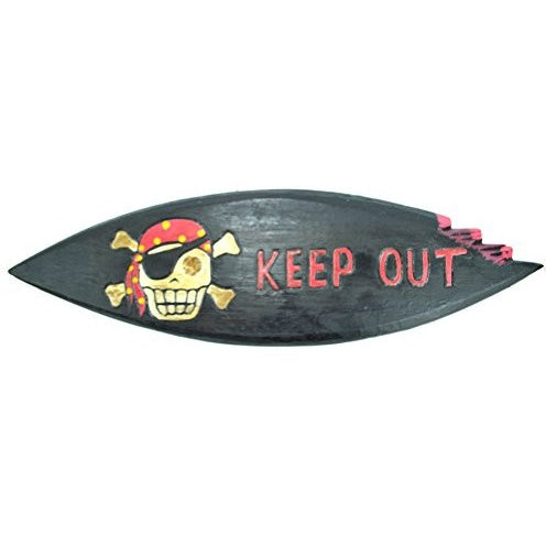 "LG 20 inch Hand Carved Wood Pirate Skull Cross Bone ""KEEP OUT"" Sign Plaque Wall Art Decor - Tropically Inclined"