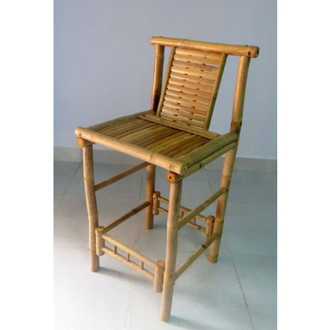 "Set of 2 Pieces, Bamboo Tiki Bar Stool with Back Support, 18""W x 45""H - Tropically Inclined"