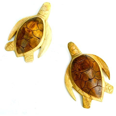 Hand Carved Wooden Set of Two Turtles Wall Plaque Carving Art - Tropically Inclined