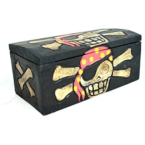 Hand Carved Beautifully Detailed Treasure Box Chest Pirate with Bandanna Design - Tropically Inclined