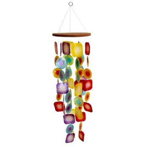"TROPICAL SUNSET CAPIZ CHIME 5.625x19""L+Hanger - Tropically Inclined"