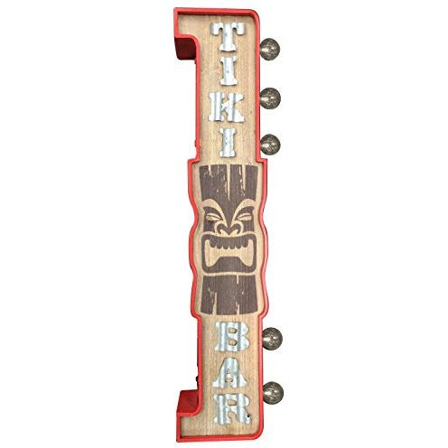 "Crystal Art E2 Concepts Off The Wall Metal LED Lighted Tiki Bar Sign, 3.9"" x 7.7"" x 29.9"" - Tropically Inclined"