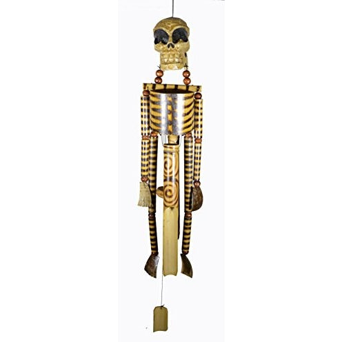 Hand Carved Beautifully Detailed Treasure Pirate Skull Skeleton Bones Wind Chime - Tropically Inclined