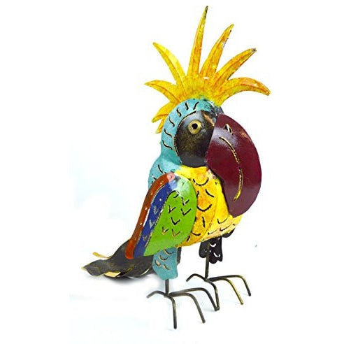 Metal Parrot Statue Sculpture Art Handmade Tropical African Parrot Head Candle Holder - Tropically Inclined