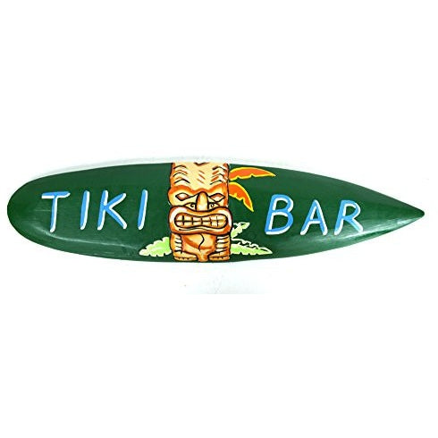 Hand Carved Tiki Bar Sign with Polynesian Hawaiian Mask Surfboard Shark Bite - Tropically Inclined