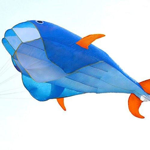Hengda Kite 3D Kite Huge Frameless Soft Parafoil Giant Blue Dolphin Breeze Kite - Tropically Inclined