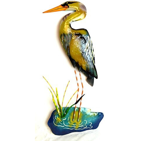 Hand Carved Metal Blue Heron Wall Art Hanging Tropical Nautical Decor - Tropically Inclined