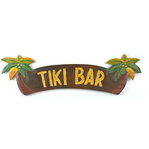 HAND CARVED TIKI BAR SIGN WITH TWO PALM TREES 3D - Tropically Inclined