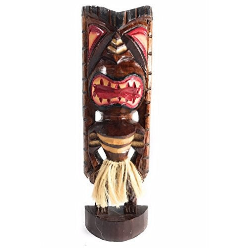 "Hula Fire Dancer Tiki God 12"" - Hand Carved Statue 