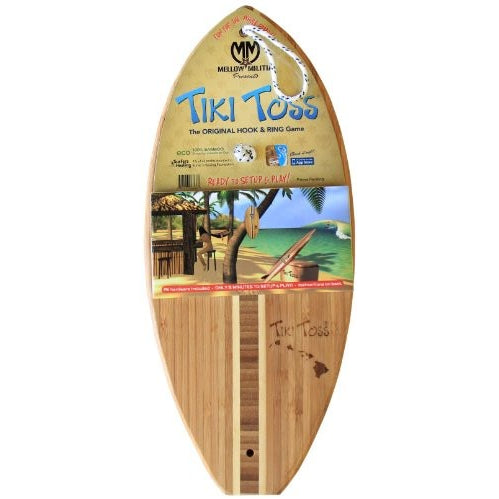 Hook And Ring Toss Game – 100% Bamboo Party Game For Indoor or Outdoor Family Fun –  Tiki Toss Hawaiian Island Edition (All Parts Included) - Tropically Inclined