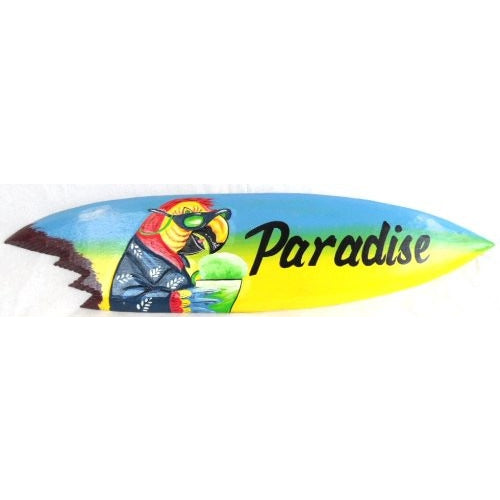 Hand Carved Wood Paradise Surfboard Sign Parrot Head Drinking - Tropically Inclined