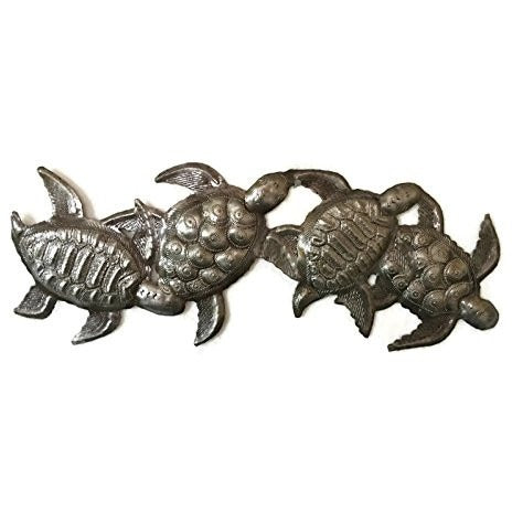 "Sea Turtle, Metal Wall Art, Handmade in Haiti, Steel Drum Art 6"" X 17"" - Tropically Inclined"