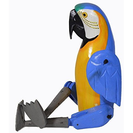 Shelf Sitter BLUE YELLOW PARROT Statue Hand Painted Carved Wood Meditating Yoga - Tropically Inclined