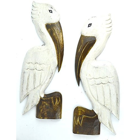 2 HAND CARVED SET OF WHITE WOOD PELICANS WALL ART HANG ON WOOD PILING, TROPICAL NAUTICAL DECOR - Tropically Inclined