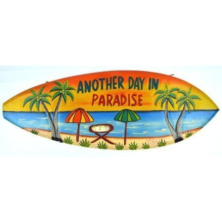 Hand Carved Wooden ANOTHER DAY IN PARADISE Cocktails Drinking BEACH Surfboard Sign - Tropically Inclined
