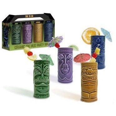 4 Tiki Tumblers Ceramic Hawaiian Luau Party Mugs Glasses - Tropically Inclined