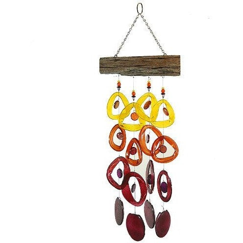 Recycled Glass Bottle Wind Chime on Driftwood : Tropical Sunset - Tropically Inclined