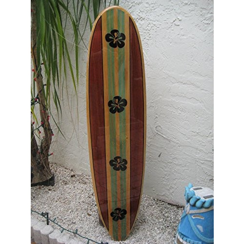 Solid wood wall hanging decorative surfboard for a Hawaiian beach surfing tropical coastal decor by Tiki Soul - Tropically Inclined