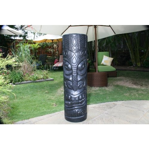 "SMOKING TIKI BLACK TIKI TOTEM - 40"" TIKI DECOR - Tropically Inclined"