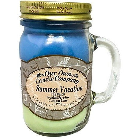 Summer Vacation Scented 13 Ounce Mason Jar Candle By Our Own Candle Company - Tropically Inclined