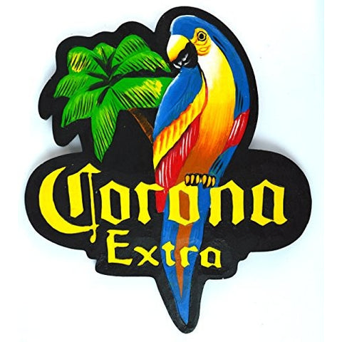 Hand Carved CORONA EXTRA PARROT Beer Wooden Wall Hanging Art Sign Tiki Bar - Tropically Inclined