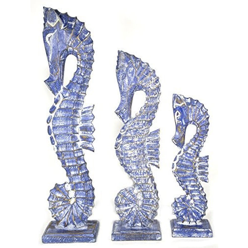 "Nautical Set of 3 Seahorses Wooden Wall Art Decor 20"" Tall - Tropically Inclined"