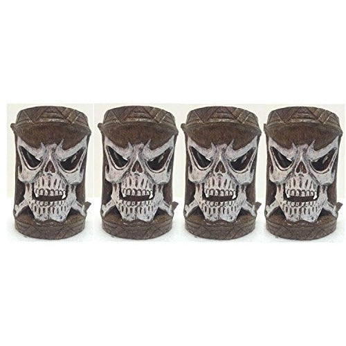 Homestyles Friki Tiki #11302 4 Piece Set of Scary Skull Flashing Multi-Color Glowing Table Top or Path Lighting - Tropically Inclined