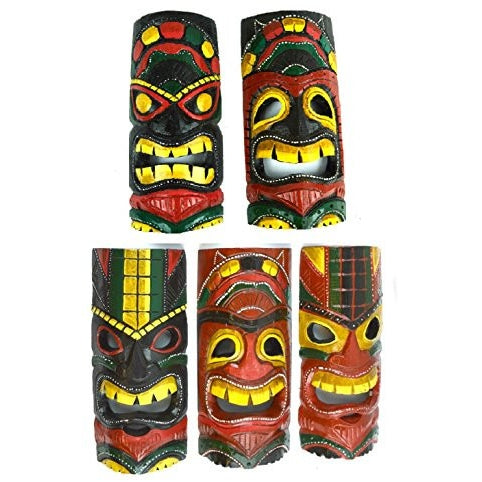"Set of 5 Hand Carved Polynesian Hawaiian Tiki Style Masks 12"" Tall RED BLACK TRIBAL STYLE - Tropically Inclined"