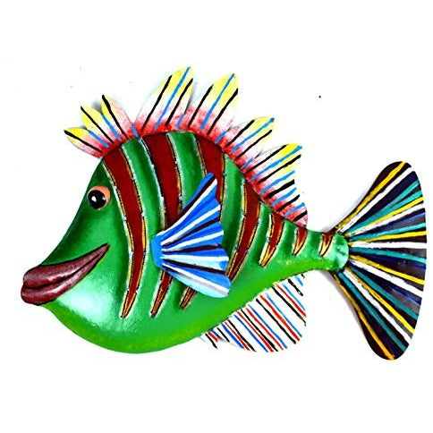 HUGE BEAUTIFUL UNIQUE NAUTICAL METAL FISH WALL ART GREEN RED - Tropically Inclined