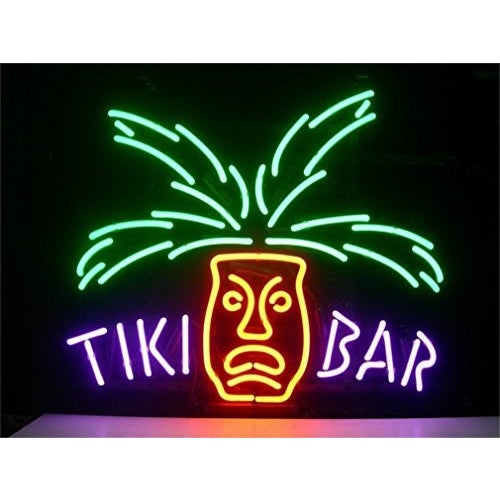 "Tiki BAR Paradise Palm Design Real Glass Tube Neon Lights Sign Store Display Beer Bar Pub Club Signs 17""x14"" - Tropically Inclined"