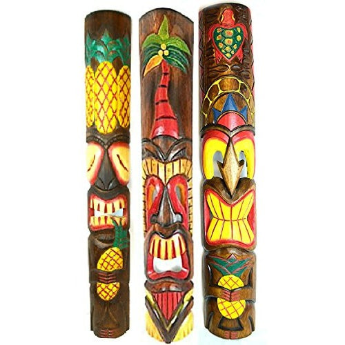 39 IN HAND CARVED BEAUTIFUL SET OF 3 POLYNESIAN TIKI GOD MASKS PINEAPPLE HIBISCUS TURTLE! - Tropically Inclined