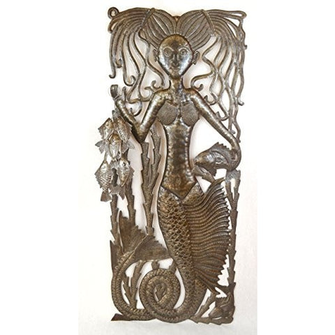 "Mermaid's Catch, Haiti Steel Drum Art, Sealife Home Collection 14.75"" X 34.25"" - Tropically Inclined"