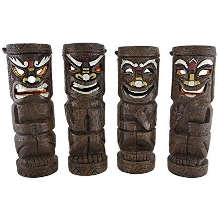 Set of 4 Flickering Friki Tiki Solar Powered Statue Lights - Tropically Inclined