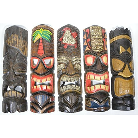 "20"" Large Set of 5 Polynesian Hawaiian Tiki Style Wall Masks - Tropically Inclined"
