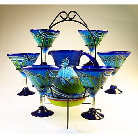 Mexican Margarita/Martini Glasses and Pitcher set with dispaly rack, Hand Blown, Hand Painted, Blue with Fish in the Sea design - Tropically Inclined