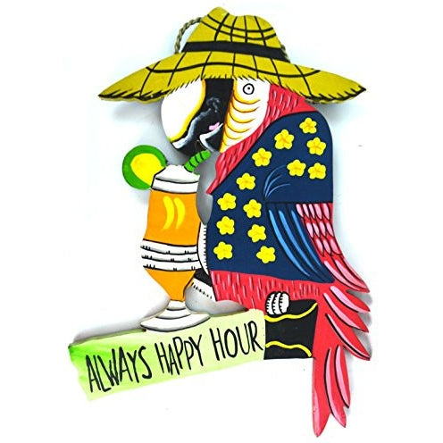 Hand Carved Wooden ALWAYS HAPPY HOUR Cocktails Parrot Drinking BEACH Sign - Tropically Inclined