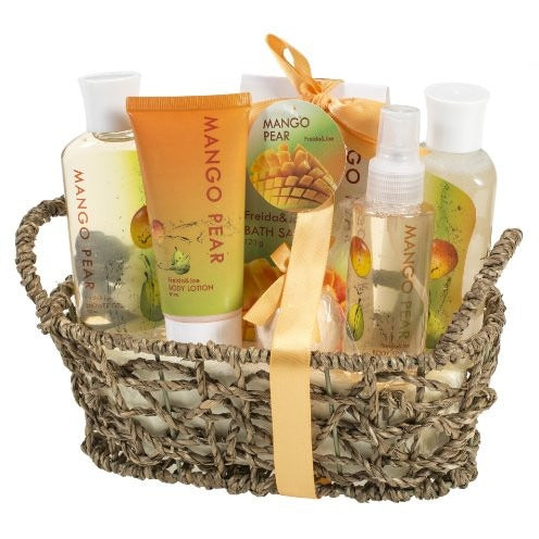 Mango Pear Spa Gift Set Woven Antique Basket,Shower Gel, Bubble bath,Bath Salt,Body Lotion, Body Spray, Bath Fizzer - Tropically Inclined