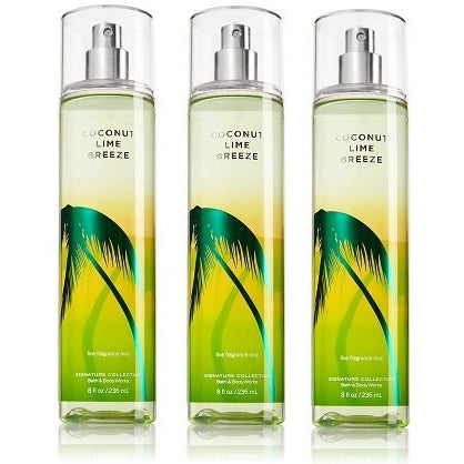 Coconut Lime Breeze Bath & Body Works Lot of 3 Fine Fragrance Mist Full Size - Tropically Inclined