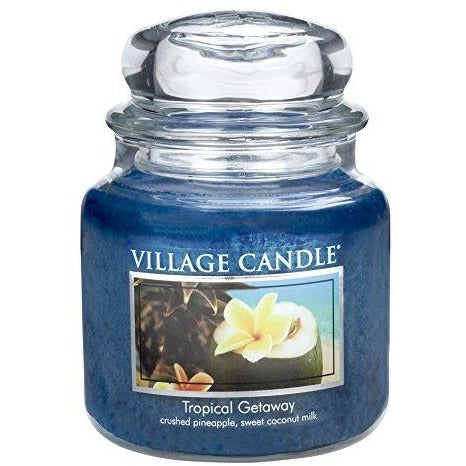 Village Candle Tropical Getaway 16 oz Glass Jar Scented Candle, Medium