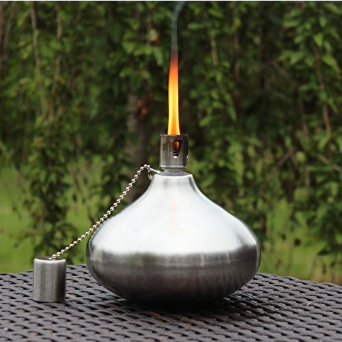 Stainless Steel Teardrop Patio Garden Table Tiki Torches - Tropically Inclined