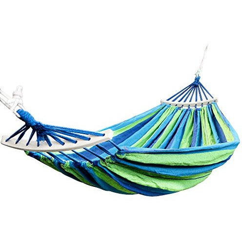 "Rusee Double 2 Person Cotton Fabric Canvas Travel Hammocks 450lbs Ultralight Camping Hammock Portable Beach Swing Bed with Hardwood Spreader Bar Tree Hanging Suspended Outdoor Indoor Bed, 59"" Wide - Tropically Inclined"