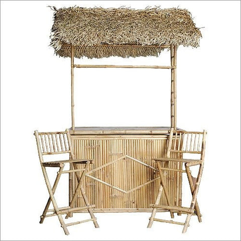 Bamboo Bar with Thatched Roof and Two Bar Stools Set - Tropically Inclined