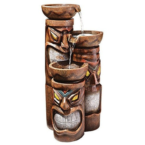Design Toscano Cascading Aloha Tiki 3-Bowl Garden Fountain - Tropically Inclined