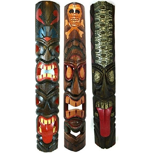 40 IN HAND CARVED BEAUTIFUL SET OF 3 POLYNESIAN TIKI GOD TRIBAL MASKS TONGUE TWO FACE TEETH - Tropically Inclined