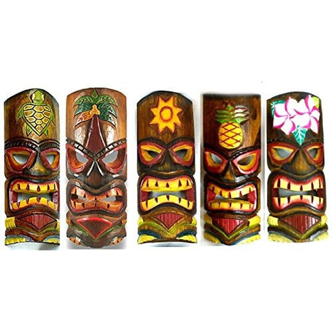 SET OF 5 HAND CARVED POLYNESIAN HAWAIIAN TIKI STYLE MASKS 12 IN TALL turtle pineapple colorful flower parrot - Tropically Inclined